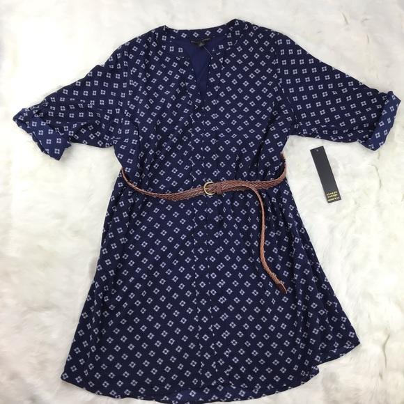 Always Indigo Dresses & Skirts - [Always Indigo] Navy Belted Shirt Dress 3X